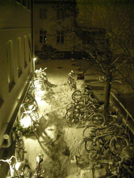 Bikes in snow.