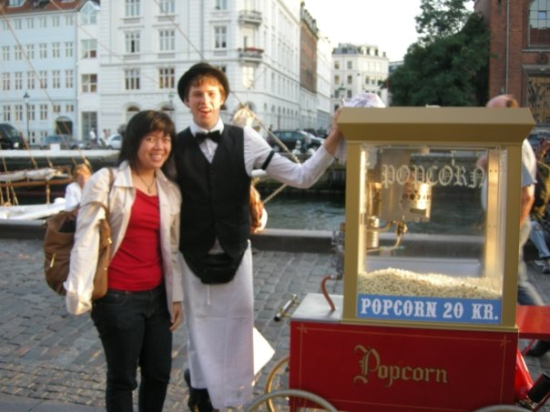 Or you might just chance upon a cute popcorn seller.